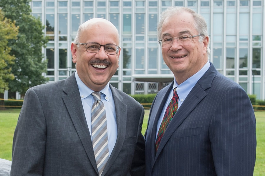 Image of President Jahanian and James Rohr