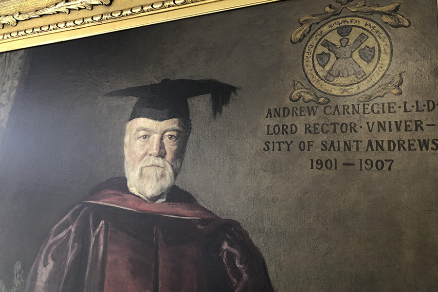 A painting of Andrew Carnegie