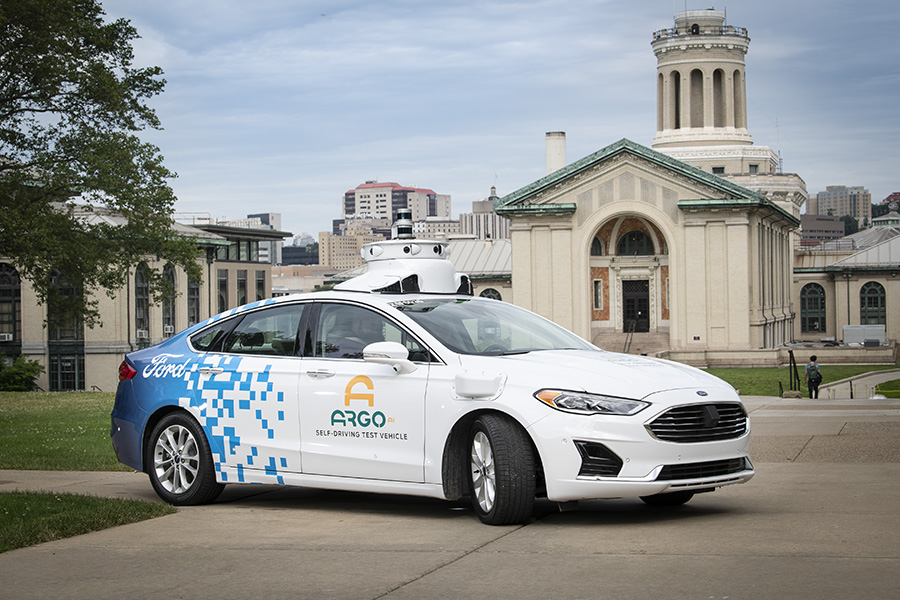 A photo of an Argo autonomous vehicle.