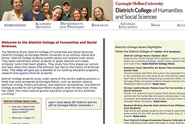 Launch the Dietrich College of Humanities & Social Sciences website