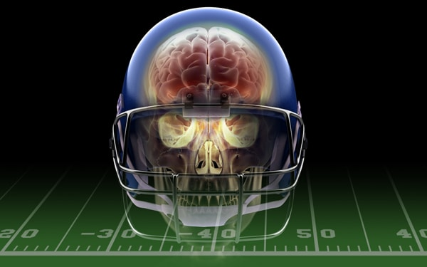 Brain inside football helmet