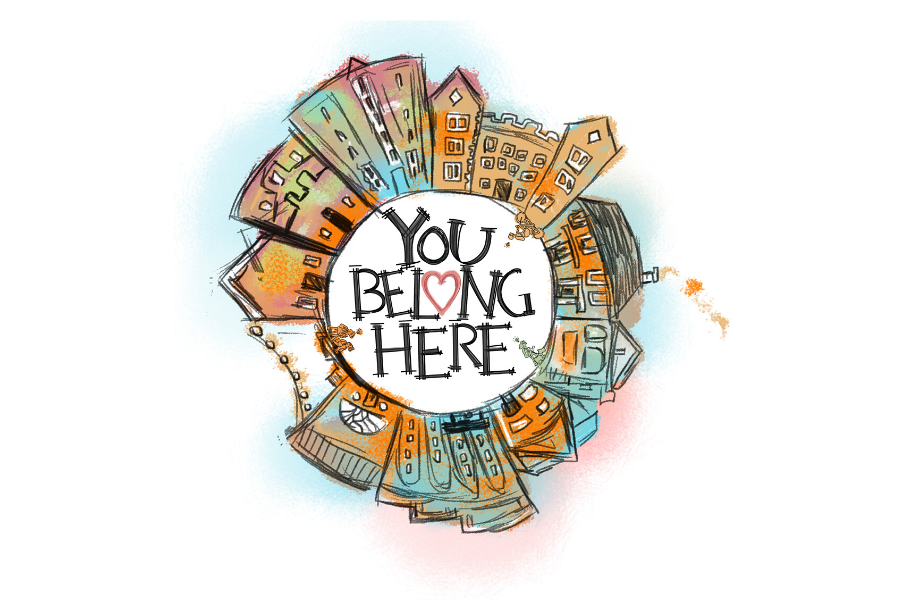 Illustration of a the 2020 Room Selection logo - a circle with drawn residence halls and the words You Belong Here in the middle