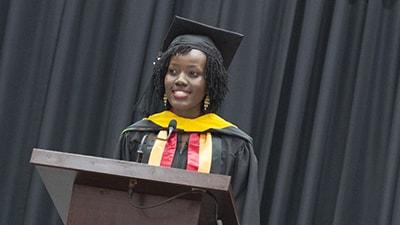 Image of student speaker Joan Rachel Nkiriki