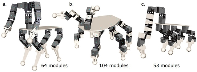 Image of three robots that use a different number of modules in different configurations
