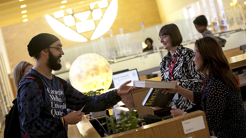 Image of students in the library at CMU Qatar