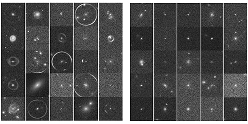 Image of black and white galaxies some with arcs around them
