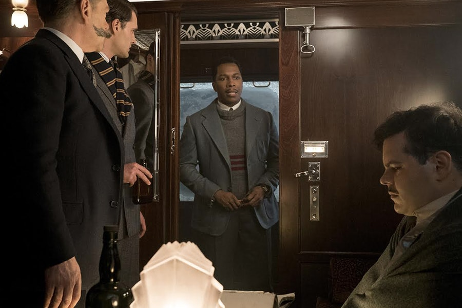 "Leslie Odom, Jr. and Josh Gad in ""Murder on the Orient Express."""