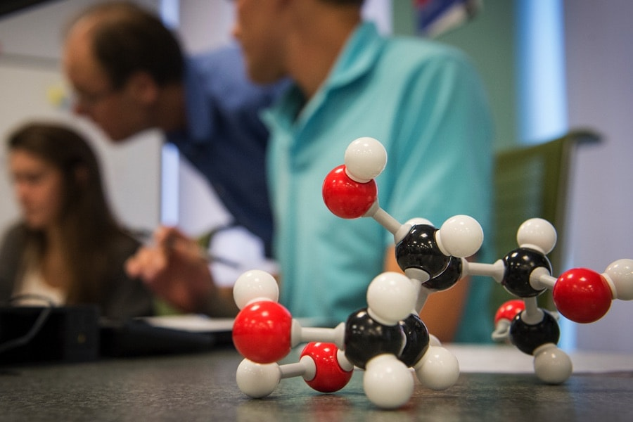 photo of molecular model on a table