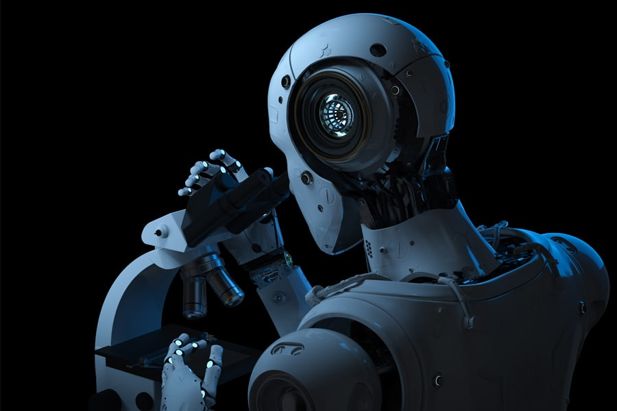 Image of robot at a microscope