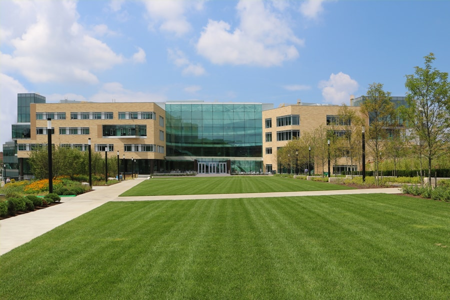 Image of lawn in front of the Tepper Quad