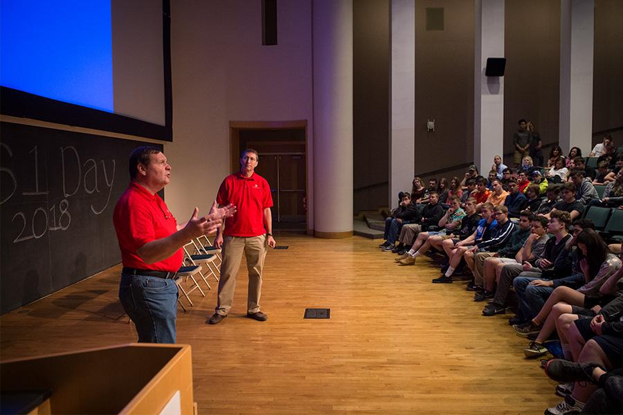 Mark Stehlik speaks at a CS Academy workshop.