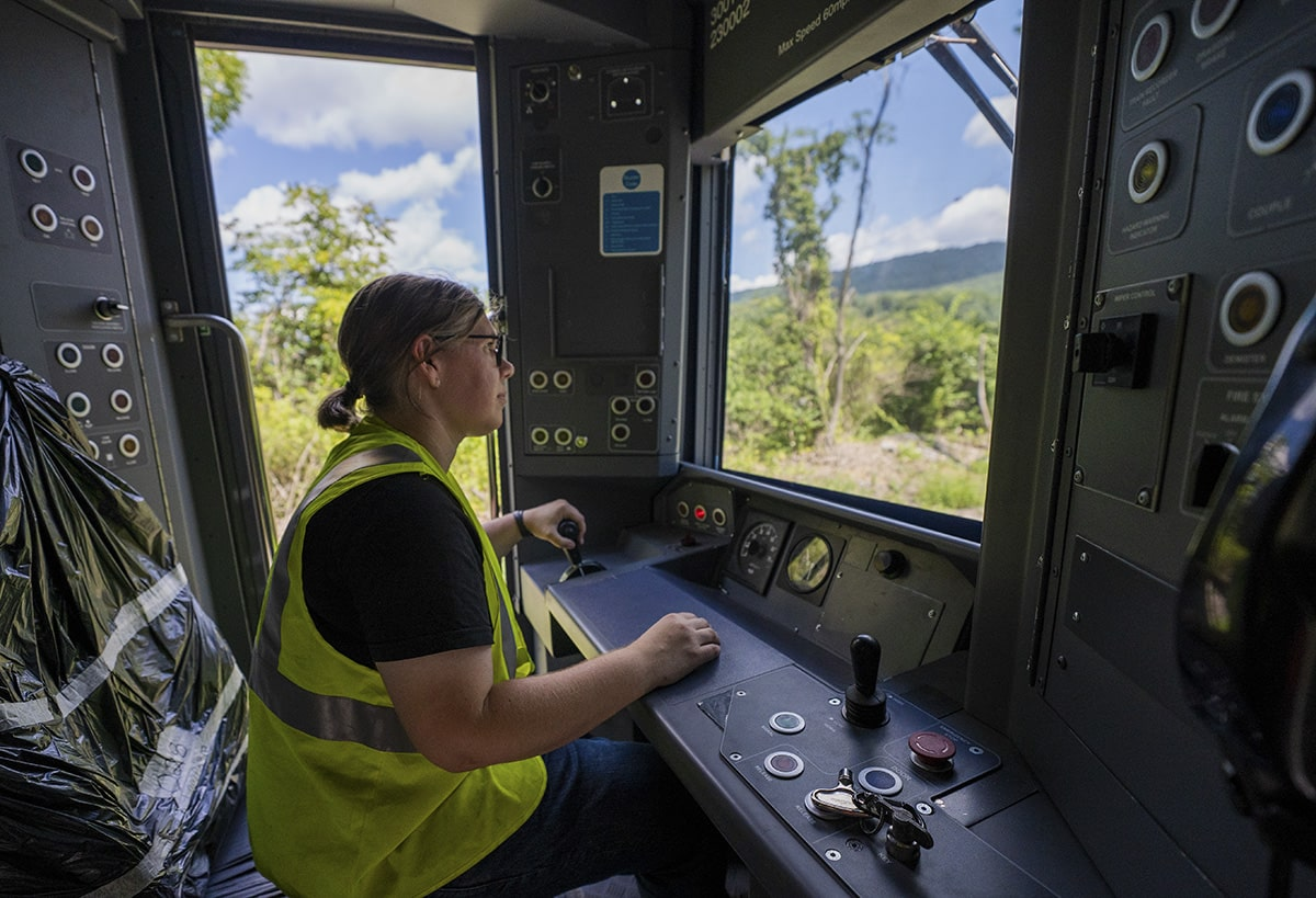 The cab of a train