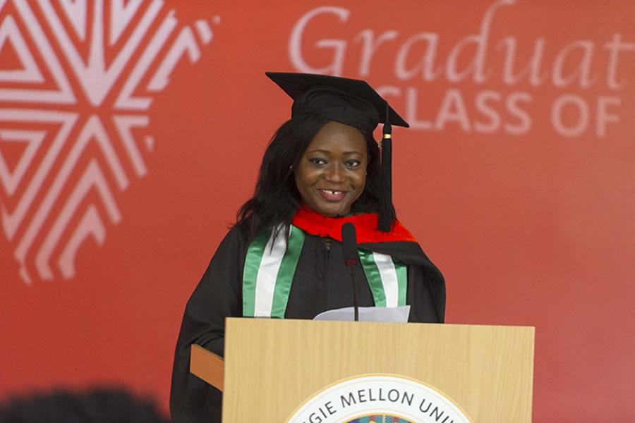 Student speaker Ozioma Paul delivers remarks.