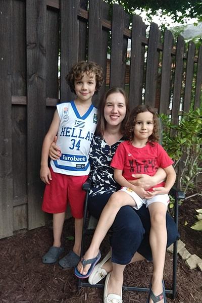 Christina Bjorndahl with her two children