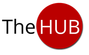 The Hub logo: The Hub in sans-serif typeface, surrounded by a red circle