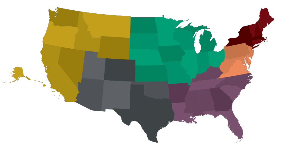 US map highlighting residency of full-time MBA students