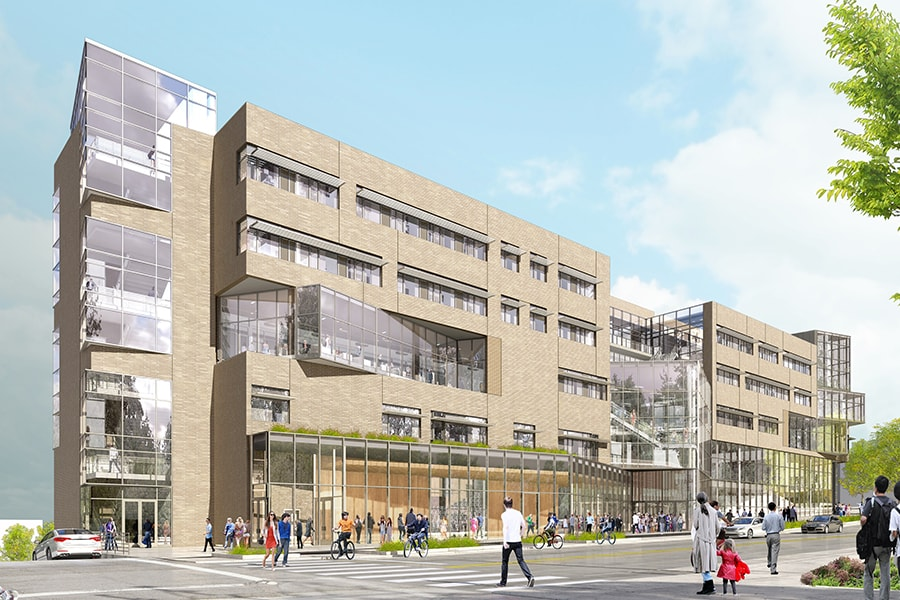 A rendering of the Forbes Avenue entrance of the new Tepper Quad building